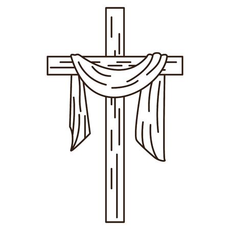 Croce cristiana con il simbolo del panno nella progettazione grafica dell'illustrazione di vettore in bianco e nero Vettoriali