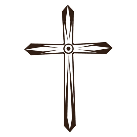 Christian cross symbol in black and white vector illustration graphic design Illustration