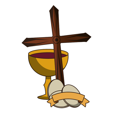 Catholic chalice with wine and christian symbols vector illustration graphic design