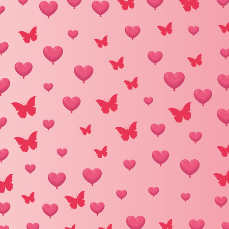 Hearts and butterfly pink background pattern vector illustration graphic design Illustration