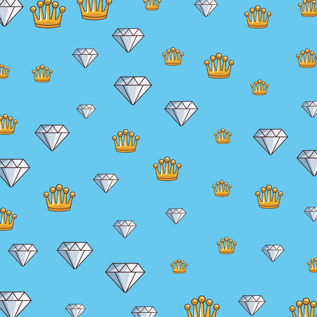 Diamond and crowns videogame pattern background vector illustration graphic design