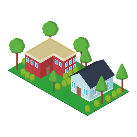 House residences with gardens isometric vector illustration graphic design