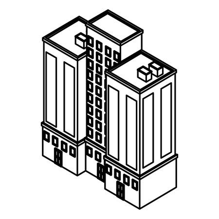 Company building isometric vector illustration graphic design