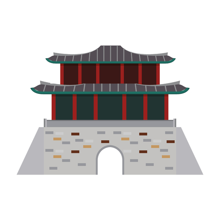 Asian temple building isolated vector illustration graphic design