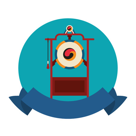 Asian gong instrument round emblem with blank ribbon banner vector illustration graphic design
