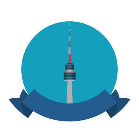 Seoul korean tower round icon with blank ribbon banner vector illustration graphic design Vector Illustration