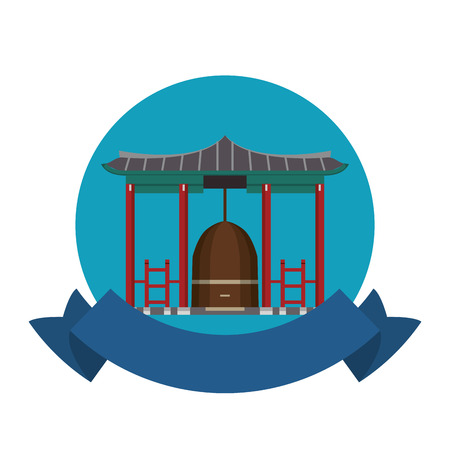 Asian temple building emblem with blank ribbon banner vector illustration graphic design Illustration