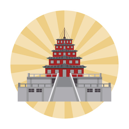 Asian temple building over striped background vector illustration graphic design Illustration