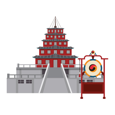 Asian temple building with bell vector illustration graphic design