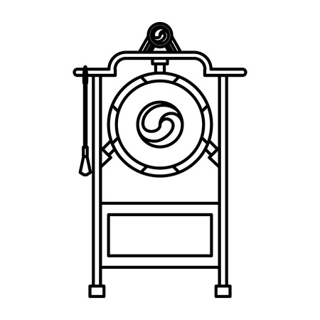 Asian gong instrument in black and white vector illustration graphic design 向量圖像