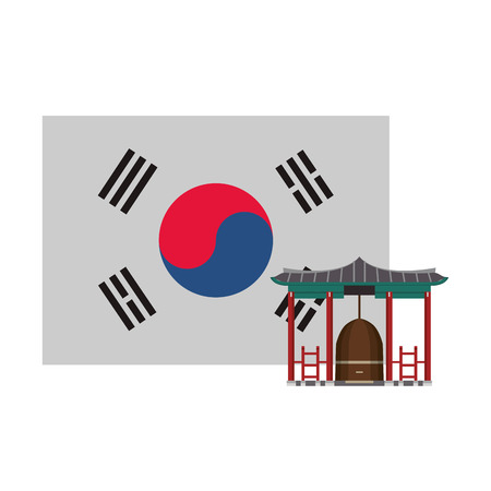 Asian temple building with korea flag vector illustration graphic design