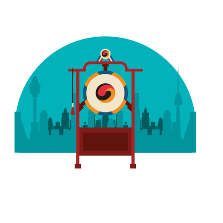 Asian gong instrument over cityscape vector illustration graphic design 向量圖像