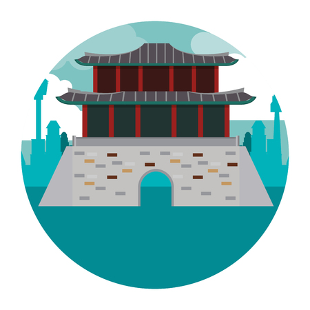 Asian temple building round icon vector illustration graphic design Illustration