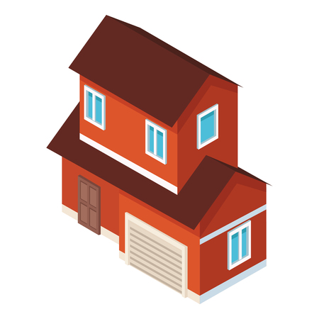 House with garage real estate isometric vector illustration graphic design Illusztráció