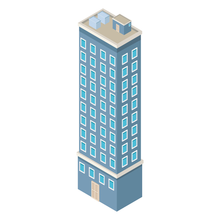 Company building isometric vector illustration graphic design
