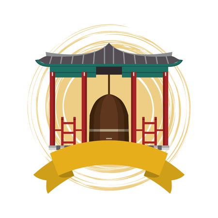 Asian temple building with blank ribbon banner vector illustration graphic design