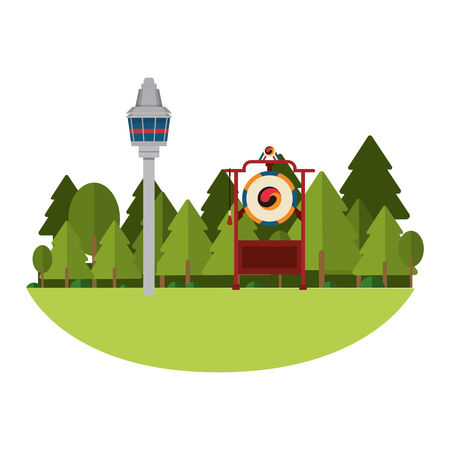 Asian gong instrument with seoul tower vector illustration graphic design