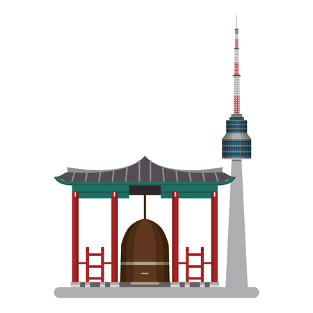 Asian temple and seoul tower vector illustration graphic design Illustration
