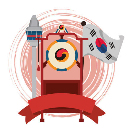 Asian gong instrument with korean flag vector illustration graphic design