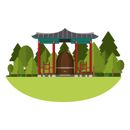 Asian temple building at nature vector illustration graphic design