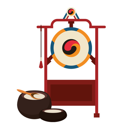 Asian gong instrument with pots vector illustration graphic design
