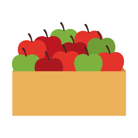 basket apples fruit isolated vector illustration graphic design