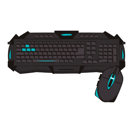 Gamer keyboard and mouse vector illustration graphic design