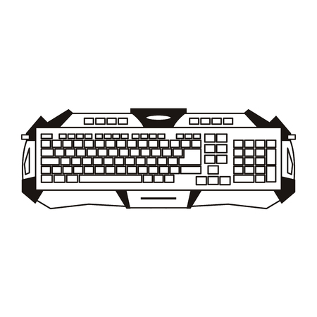 Gamer keyboard device black and white sketch vector illustration graphic design