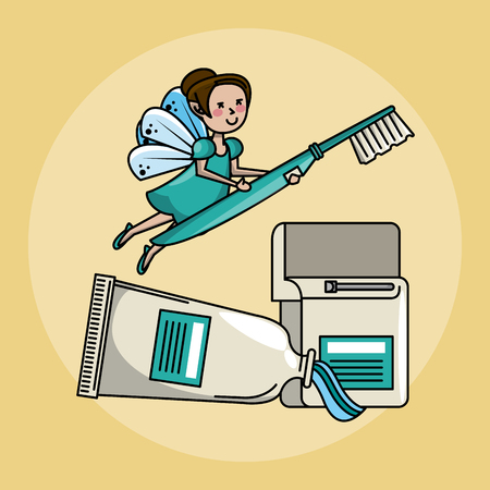 Tooth fairy and dental care hygiene cute cartoons vector illustration graphic design Vettoriali