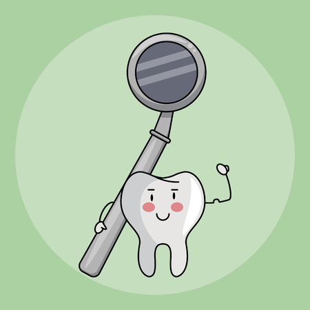 Dental care and hygiene teeth with tools cute cartoons vector illustration graphic design Vector Illustration
