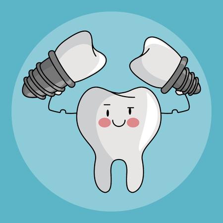 Dental care and hygiene teeth with tools cute cartoons vector illustration graphic design Vektorové ilustrace