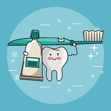 Dental care and hygiene teeth with tools cute cartoons vector illustration graphic design