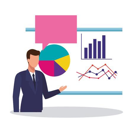 Businessman showing statistics on white board vector illustration graphic design Vector Illustration