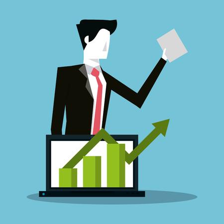 Businessman and profit statistics bars vector illustration graphic design  イラスト・ベクター素材