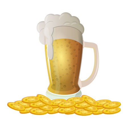 Irish beer with coins stacked vector illustration graphic design