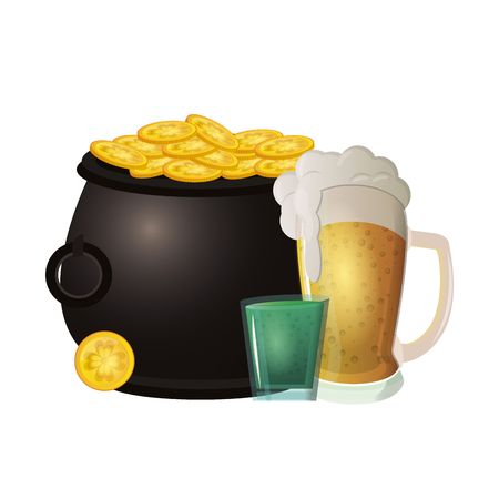 Beer and shot wits coins in pot vector illustration graphic design Illustration
