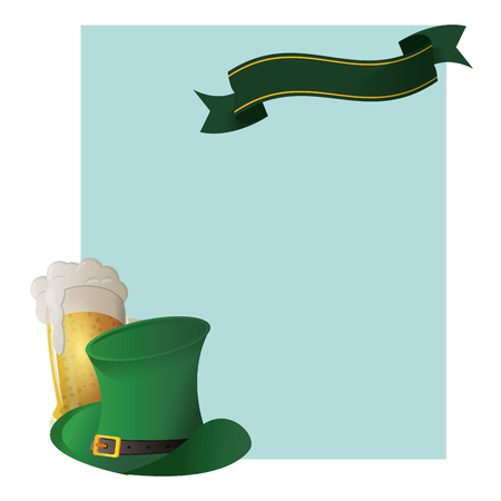 Saint patricks frame with hat and beer cup vector illustration graphic design Illustration