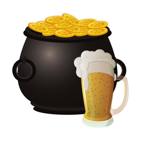 Beer and pot with irish coins vector illustration graphic design