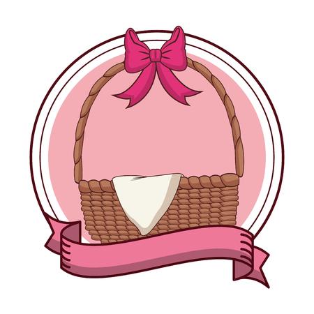 Empty easter eggs basket round emblem with blank ribbon banner vector illustration graphic design