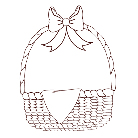 Empty picnic basket isolated brown and white lines vector illustration graphic design