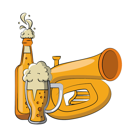 Beer bottle and cup with trumpet vector illustration graphic design