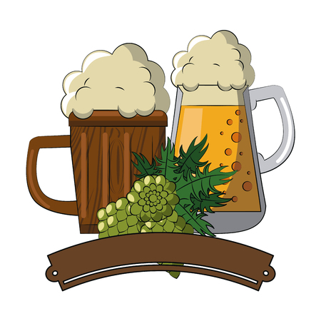 Beer cups and hop with banner vector illustration graphic design Vectores