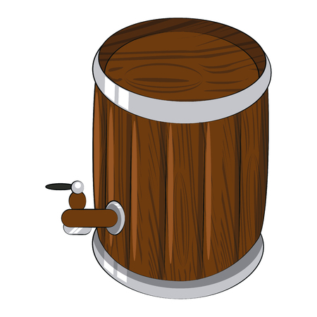 Wooden beer barrel isolated vector illustration graphic design Illustration
