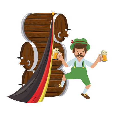 Bavarian man with beer barrels vector illustration graphic design