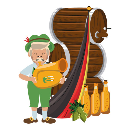 Bavarian man with trumpet and beer barrels vector illustration graphic design Illustration