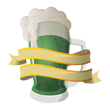 Cold green beer cup isolated with blank ribbon banner vector illustration graphic design
