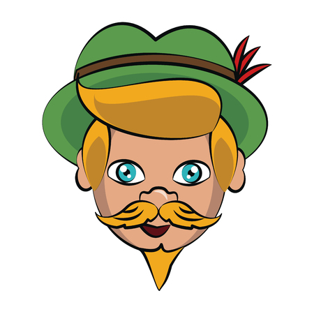 Bavarian man face cartoon vector illustration graphic design
