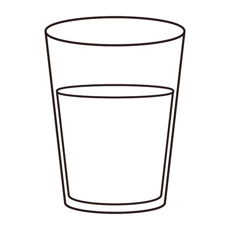 Tasse en verre d'eau dans la conception graphique d'illustration vectorielle noir et blanc