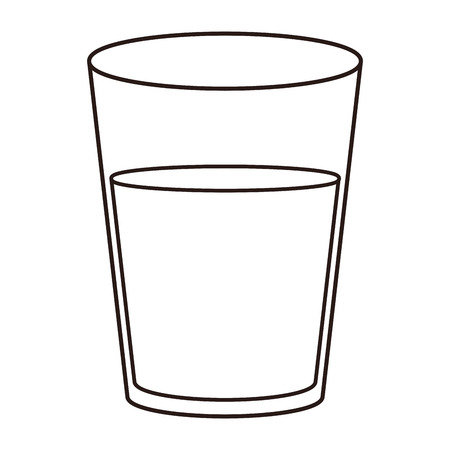 Water glass cup in black and white vector illustration graphic design