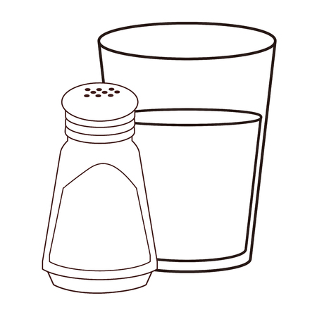 Water glass and salt shaker in black and white vector illustration graphic design Illustration